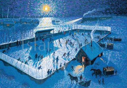 Bill Brownridge - Bill Brownridge - Skating Rink By Moonlight